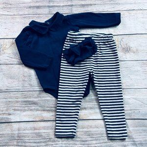 18m Primary collared bodysuit +Gap legging & bow